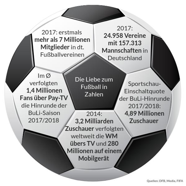 Fuball-Fakten auf einem Fußball in den Waben zusammengetragen.