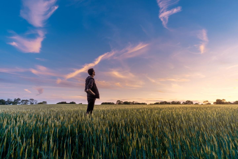 Wohlfühlen: Ein Mann steht in der Abenddämmerung auf einem Kornfeld