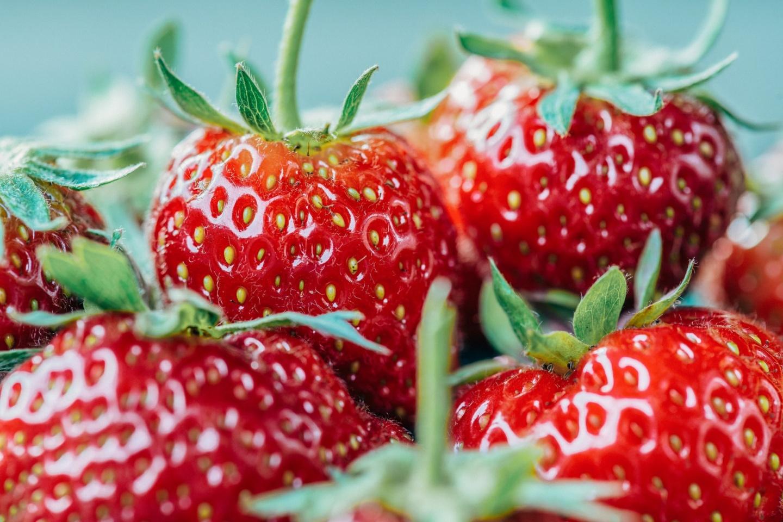 Frische Erdbeeren in Nahaufnahme