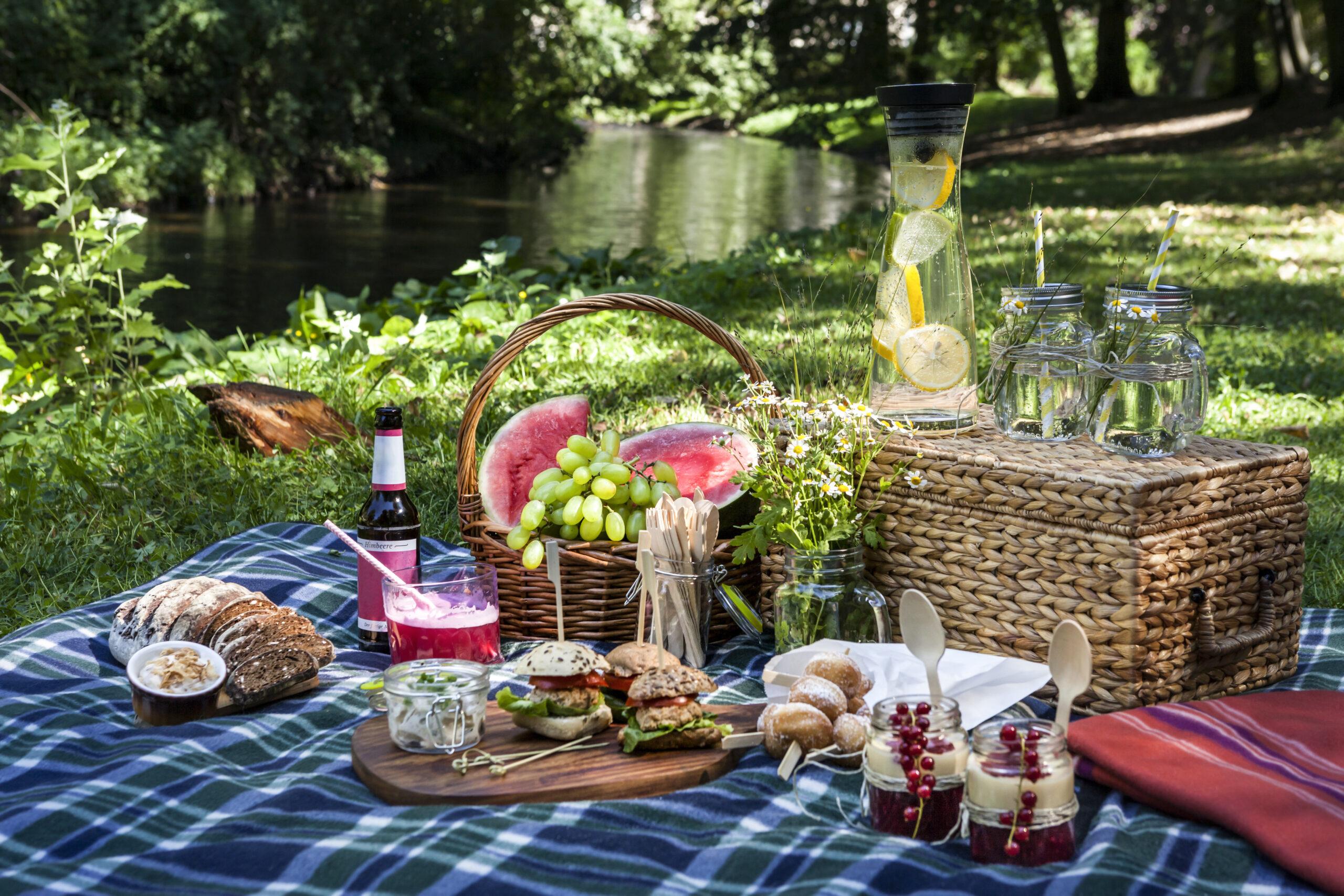 Ausflug: Picknickszene am Wasser